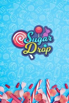 Сахарная капля и лепестки конфет