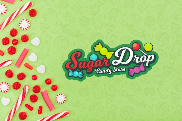 Sugar drop candy store with copy space