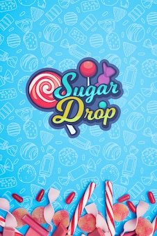 Sugar drop and petals of candies