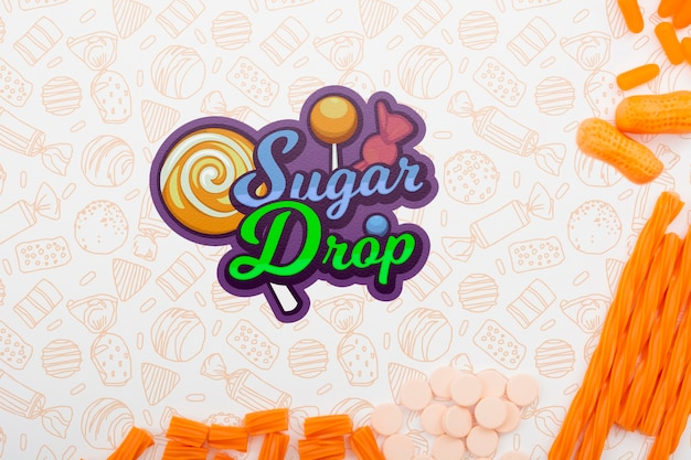 Sugar drop with lollipop stick and red doodle background