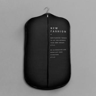 Suit cover bag mockup in black color