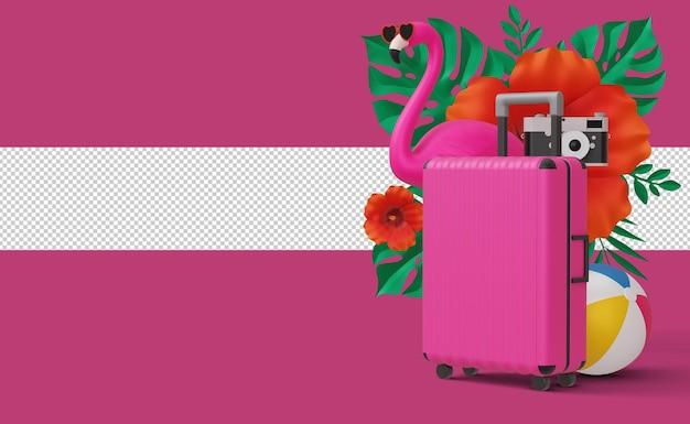 Чемодан и фламинго с пляжным снаряжением, летний сезон, летний шаблон 3d-рендеринга