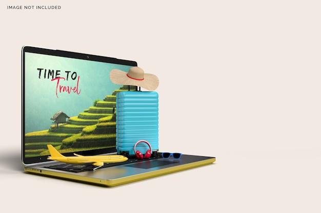 Чемодан и ноутбук с аксессуарами для путешественников