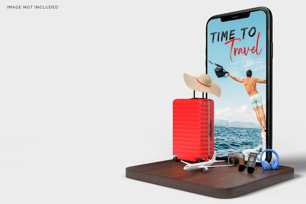 旅行用アクセサリーが付いたスーツケースとスマートフォン