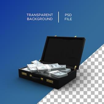 Чемодан деньги наличные деньги 3d визуализация доллар