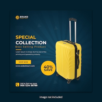Suitcase sale social media instagram post banner