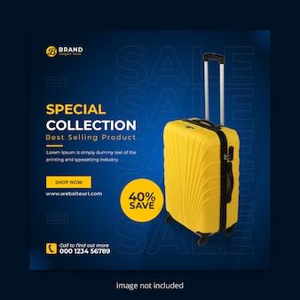 Suitcase social media instagram post banner template