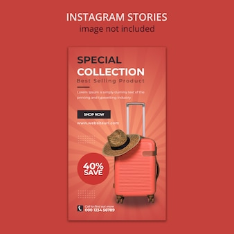 Suitcase social media instagram stories template