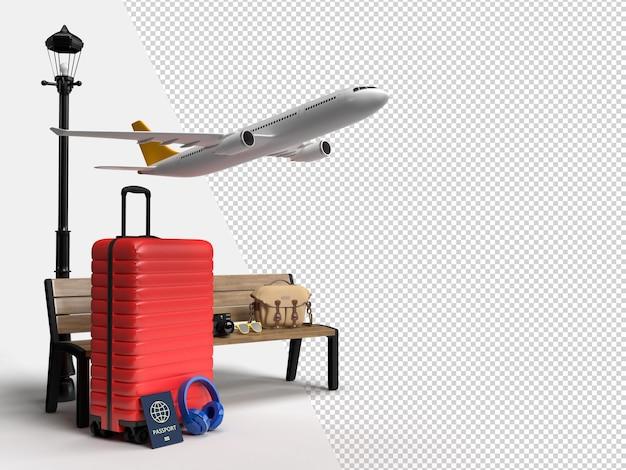 飛行機と旅行者のアクセサリーが付いたスーツケース重要な休暇アイテム冒険と旅行ホリダ