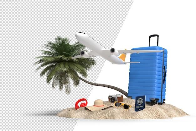 飛行機や旅行者のアクセサリー、必需品のバケーションアイテムが入ったスーツケース。冒険と旅行の休暇旅行。旅行コンセプトデザインバナーモックアップテンプレート。 3dレンダリング