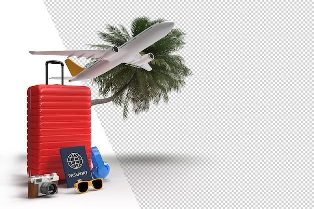 비행기 및 여행자용 액세서리가 포함된 여행 가방 필수 휴가 품목 모험 및 여행