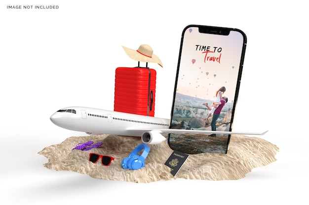 Suitcase with airplane, traveler accessories rendering