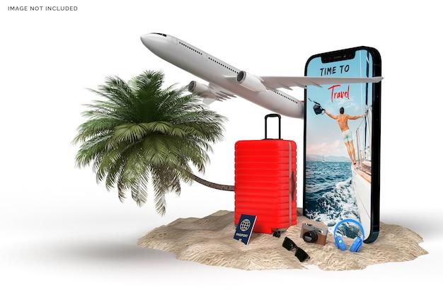 飛行機のスーツケース、旅行者用アクセサリーのレンダリング