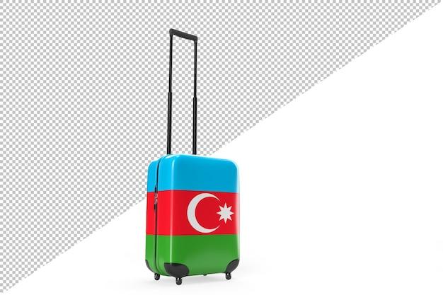 여행 컨셉으로 아제르바이잔의 국기가 달린 가방