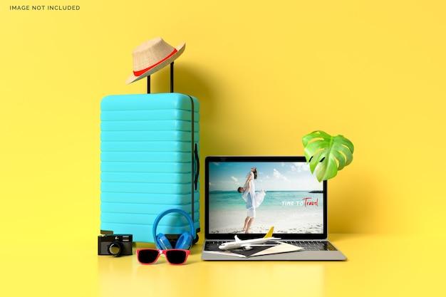 旅行者用アクセサリー付きスーツケース、重要な休暇アイテムのレンダリング