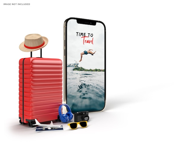Suitcase with traveler accessories, essential vacation items rendering