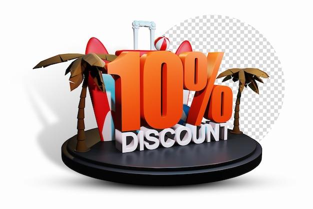 Summer 10 percent discount 3d illustration illustration