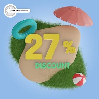 Лето скидка 27% изолированные 3d рендери