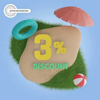 여름 3 % 할인 절연 3d 렌더링