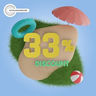 Лето скидка 33 процента изолированные 3d рендеринга