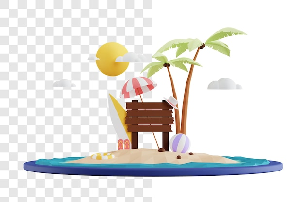 해변에서 편안한 여름 3d 렌더링 개념