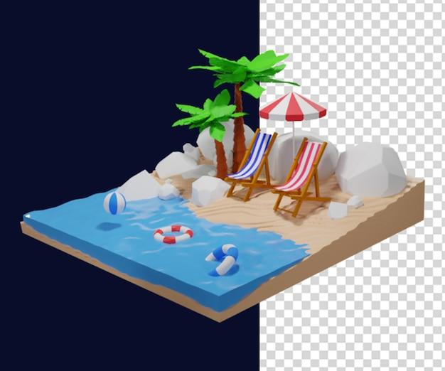 Лето 3d визуализация иллюстрации значок
