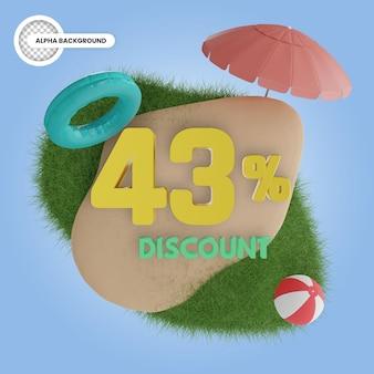 Летняя скидка 43 процента изолированные 3d рендеринга