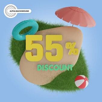 Лето скидка 55% изолированные 3d рендеринга