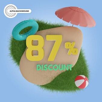 Лето 87% скидка изолированные 3d визуализации
