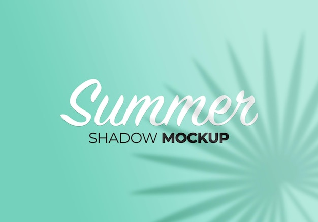 Summer background of shadows leaves mockup on wall