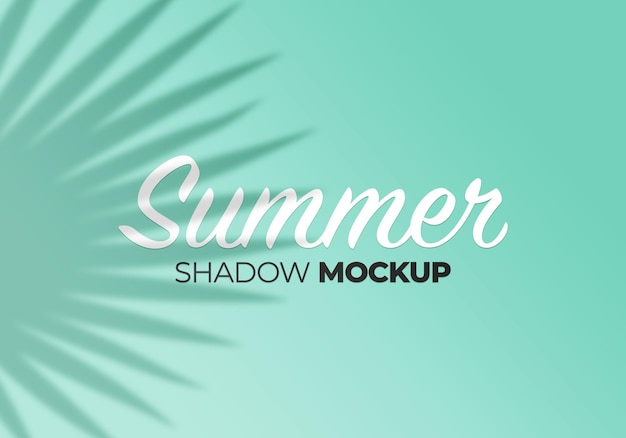 Summer background of shadows overlay leaves mockup on wall