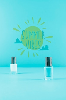 Summer background with nail polish