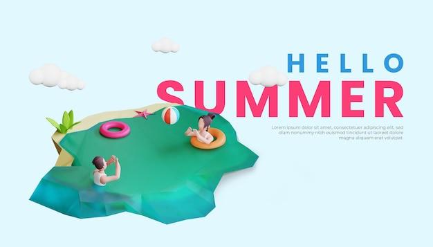 Шаблон летнего баннера с трехмерной иллюстрацией персонажей пары и спасательным кругом
