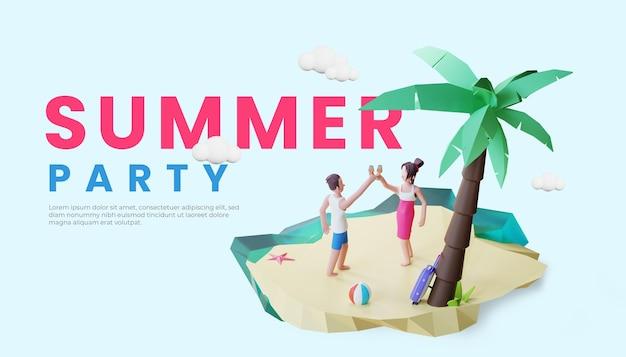 Летний баннер шаблон с 3d пара персонаж иллюстрации пляжная вечеринка