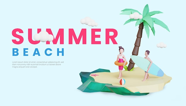 Summer banner template with 3d couple character illustration, lifebuoy and surfing board