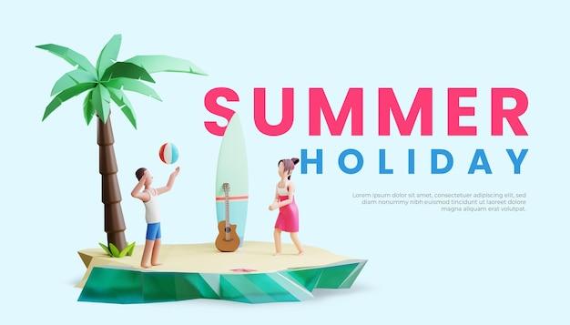 Шаблон летнего баннера с трехмерной иллюстрацией персонажа пары, играющей в мяч