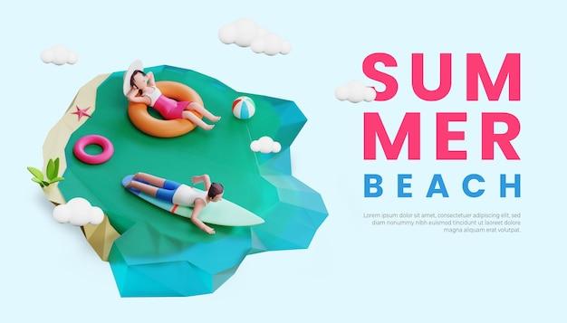 Шаблон летнего баннера с трехмерной иллюстрацией персонажей пары, занимающейся серфингом на пляже