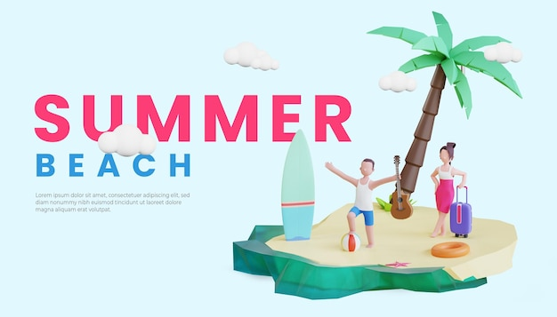 Summer banner template with 3d couple character illustration and surfing board