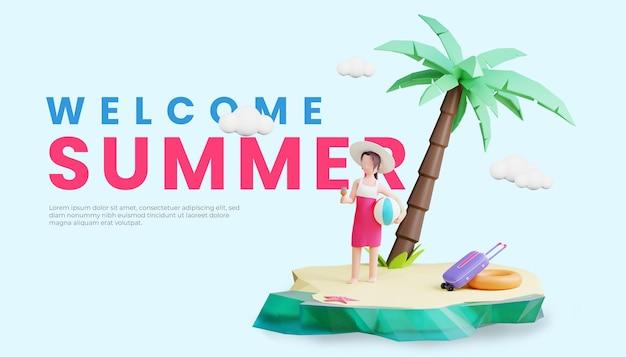 Шаблон летнего баннера с 3d-иллюстрацией женского персонажа и мячом