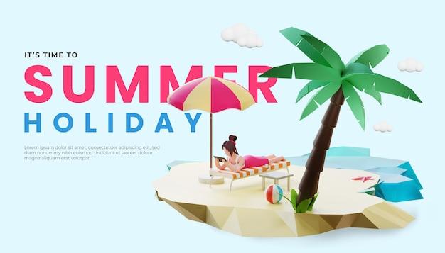 Шаблон летнего баннера с 3d изображением женского персонажа и кокосовой пальмой