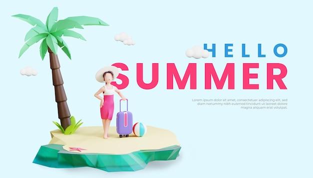 Шаблон летнего баннера с трехмерной иллюстрацией женского персонажа и дорожной сумкой