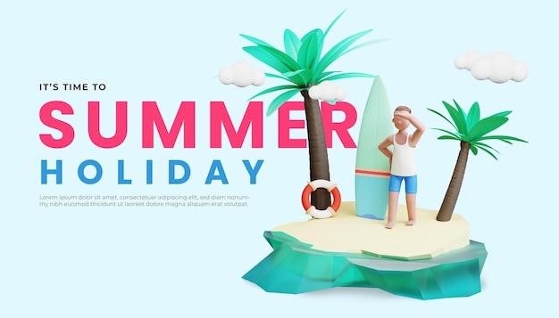 Шаблон летнего баннера с трехмерной иллюстрацией мужского персонажа и кокосовой пальмой