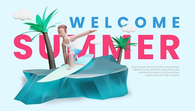 Шаблон летнего баннера с трехмерной иллюстрацией мужского персонажа, занимающейся серфингом на пляже