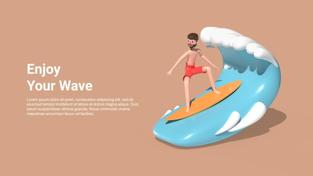 Summer banner template with a man surfing