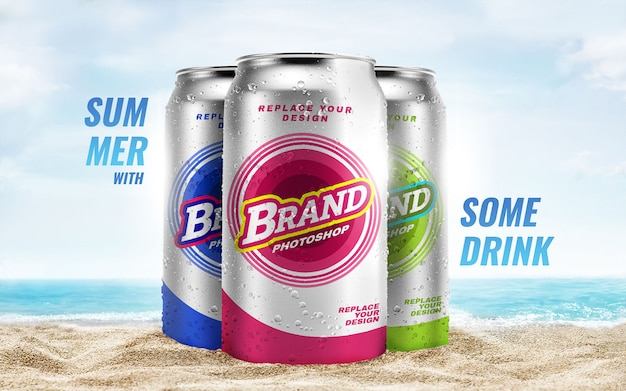 Summer beach can mockup advertising