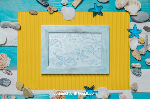 Summer beach concept with frame