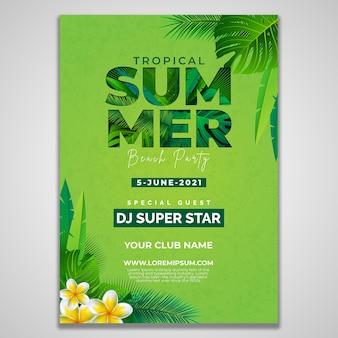 Summer beach party flyer design template