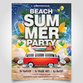 Summer beach party with coconut tree and car flyer template editable layer