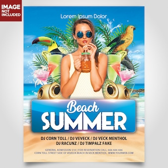 Summer beach party with girl and bird flyer template