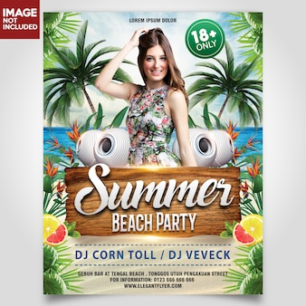 Summer beach party with girl and coconut tree flyer template